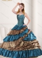 Luxurious Beading and Ruffled Layers 2015 Quinceanera Dress in Teal and Brown