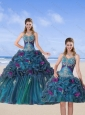 Multi Color 2015 Quinceanera Gown with Hand Made Flower and Pick Ups