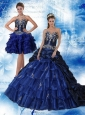 Navy Blue Sweetheart Quinceanera Dress with Ruffles and Embroidery