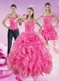 Sophisticated Hot Pink Sweet 16 Dresses with Beading and Ruffles