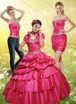 2015 Brand New Red Quince Dresses with Appliques and Pick Ups