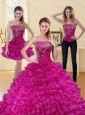 2015 Detachable Fuchsia Quinceanera Dress with Beading and Ruffled Layers