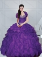 2015 Gorgeous Eggplant Purple Dresses for Quince with Beading and Ruffled Layers