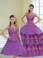 2015 Most Popular Purple Quince Dress with Beading and Ruffled Layers