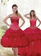 2015 Perfect Beading and Ruffles Quinceanera Dresses in Red