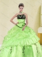 2015 Pretty Spring Green Strapless Quinceanera Dress with Embroidery and Pick Ups