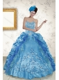 2015 Sweetheart Teal Quince Gown with Embroidery and Pick Ups