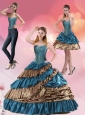 2015 Teal and Brown Sweetheart Sweet 15 Dress with Beading and Ruffled Layers