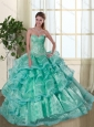 Classical Turquoise Sweetheart Quinceanera Dresses with Beading and Ruffles for 2015