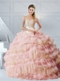 Cute Baby Pink Sweetheart Quinceanera Dresses with Appliques and Ruffled Layers