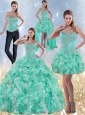 Exclusive Sweetheart Quinceanera Dresses in Apple Green with Ruffles and Beading for 2015