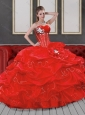 Fashionable Sweetheart Red 2015 Quinceanera Dresses with Beading and Pick Ups