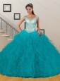 Hot Sales Appliques and Ruffles Baby Blue Quinceanera Dresses for 2015