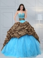Luxurious 2015 Baby Blue Leopard Printed Quinceanera Dresses with Beading