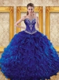 Luxurious 2015 Royal Blue Quinceanera Dresses with Beading and Ruffles