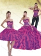 Modest 2015 Multi Color Quinceanera Dresses with Beading and Ruffles