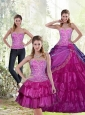 New Style 2015 Appliques and Ruffled Layers Fuchsia Sweet 15 Dresses