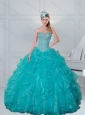 Remarkable Sweetheart Beaded 2015 Quinceanera Dresses in Turquoise