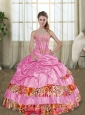 Super Hot 2015 Rose Pink Leopard Printed Quinceanera Dresses with Beading and Pick Ups