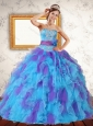 Trendy Ruffles and Sash Strapless Quinceanera Dress in Multi Color