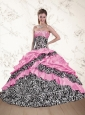 Unique Zebra Printed 2015 Pink Quinceanera Dresses with Ruffles and Pick Ups