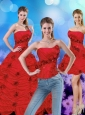 Wonderful Red Strapless Quinceanera Dresses with Beading and Hand Made Flower