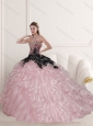 Wonderful Sweetheart Quinceanera Dresses in Pink with Beading and Ruffles