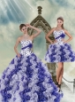 2015 Brand New White and Purple Quince Dress with Beading and Ruffles