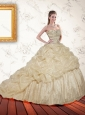 2015 Romantic Champagne Sequined Quinceanera Dresses with Pick Ups and Sequins