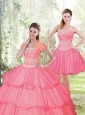 2015 Sweet Hot Pink Quinceanera Dresses with Beading and Ruffled Layers