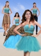 2015 Unique Leopard Print Baby Blue Quinceanera Dresses with Brush Train and Beading