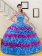 Blue and Pink Ruffled Layers and Beading Sweet 15 Dress for 2015