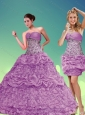 Fashionable Lilac Beaded Sweetheart Quinceanera Dresses with Pick Ups for 2015