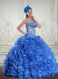 Royal Blue Appliques and Rolling Flowers Quinceanera Dresses for 2015