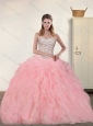 Sweetheart 2015 Baby Pink Quinceanera Dresses with Beading and Ruffles