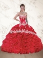 Wonderful Red Strapless Appliques Red Quinceanera Dresses
