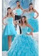 2015 Beautiful Appliques Quince Dresses with Beading and Ruffles