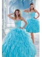 2015 Beautiful Baby Blue Sweet 16 Dresses with Beading and Ruffles