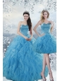 2015 Fashionable Baby Blue Dresses for Quince with Beading and Ruffles