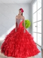 2015 New Arrival Red Quinceanera Dress with Ruffles and Beading