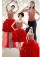 2015 Newest Beading and Ruffles Quince Dress in Red