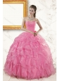 2015 Pretty Baby Pink Beading and Ruffles Quinceanera Dresses