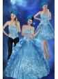 2015 Sweetheart Teal Quinceanera Gown with Embroidery and Pick Ups