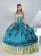 2015 Teal Off The Shoulder Sweet 15 Dress with Embroidery and Pick Ups
