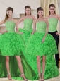 Spring Green Strapless Quinceanera Dress with Beading and Ruffles