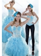 Sturning Baby Blue Sweetheart 2015 Sweet 15 Dresses with Embroidery and Ruffles