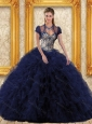 Trendy Navy Blue 2015 Quinceanera Dresses with Appliques and Ruffles