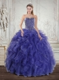 Wonderful Royal Bule Quince Dresses with Beading and Ruffles for 2015