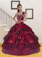 2015 Detachable Wine Red Quince Dress with Beading and Pick Ups