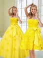 2015 Dynamic Yellow Quinceanera Dresses with Rolling Flowers and Bowknot